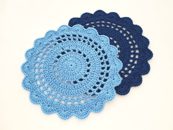 Crochet Placemat Pattern Crochet Scallop Placemat Crochet Etsy