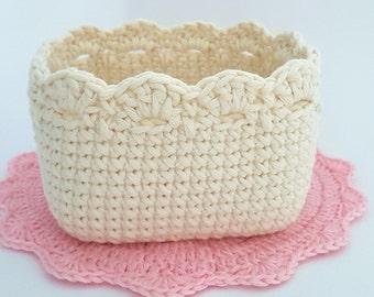 Crochet Square Basket Pattern, Crochet Basket Tutorial, Crochet Pattern 007, Instant Download
