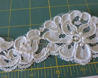"Diamond Silk Off White Beaded Lace Trim 2 1/2""  Wide Alencon Style"