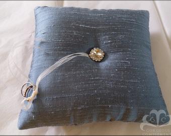BIG SALE Basic Elegance Silk Dupioni Ring Bearer Pillow Periwinkle Blue