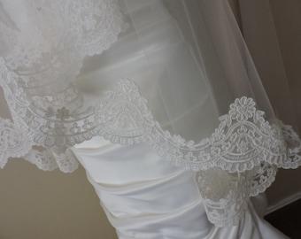 """Diamond White Alencon Reembroidered  Lace Trim 4""""  Wide Alencon Style"""