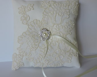 Alencon Ivory Lace and Satin Ring Pillow ready to ship