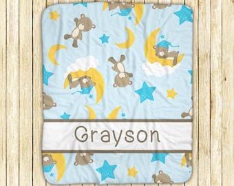 "Personalized Sherpa Blanket - Baby Bear Boy Moon Cloud Blue Name, Sherpa and Micro Mink Fabric, 50"" x 60"", Custom Design Throw Blanket"