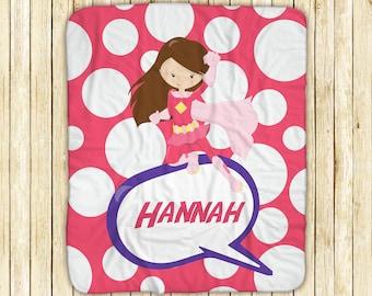 "Personalized Sherpa Blanket - Superhero Girl Pink Polka Dot, Sherpa and Micro Mink Fabric, 50"" x 60"", Custom Design Throw Blanket"