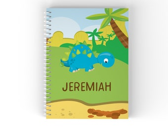 Dinosaur Personalized Notebook - Dinosaur Volcano Island Trees with Name, Customized Spiral Notebook Back to School