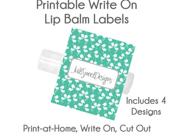 Flamingo Lip Balm Labels - Flamingo Teal Pink Flower Hearts 4 Designs, Write On Print at Home Instant Download, Lip Balm Labels