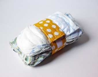 Polka Dot Diaper Strap - Mustard Yellow with White Polka Dots