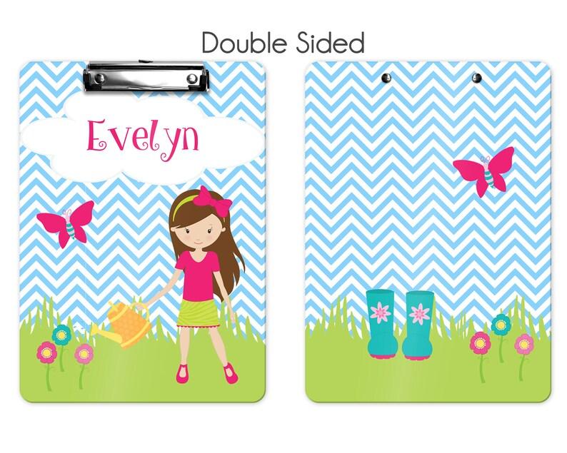 Gardening Clipboard Custom Clipboard Back to School Kids Clipboard Personalized Clipboard Gardening Girl Grass Blue Chevron Butterfly