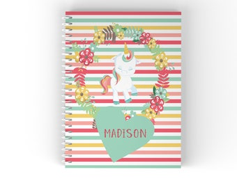 Personalized Notebook - Unicorn Floral Green Heart Flowers Stripes with Name, Customized Spiral Notebook Back to School