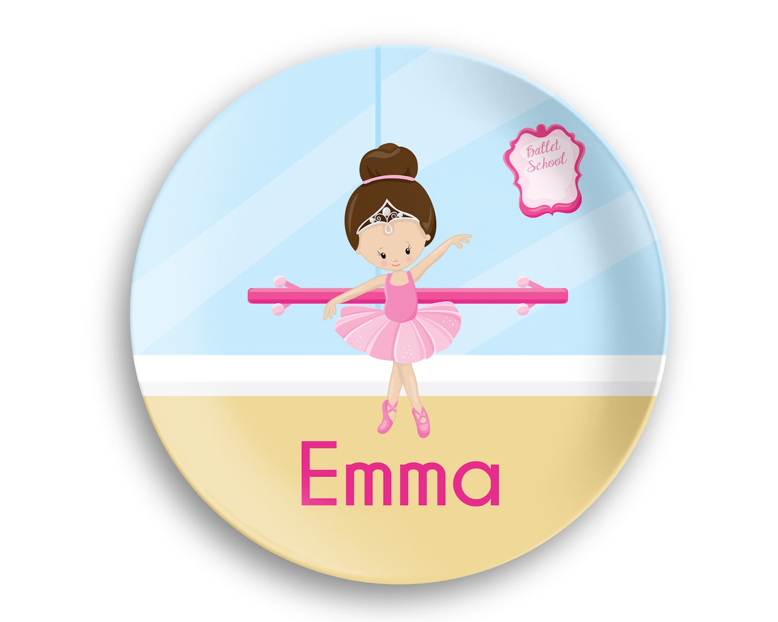 ballerina personalized plate – ballet class ballerina crown ballet room, 10 inch thermosaf® polymer plate, kids personalized 8.5
