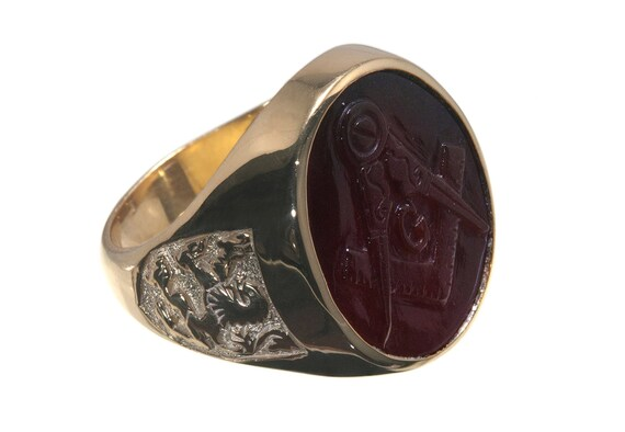 Masonic Ring Red Agate Genuine Gemstone Gold Plated Sterling Silver 925