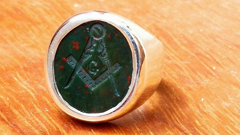 Bloodstone Masonic Ring Genuine Gemstone Signet Sterling Silver 925