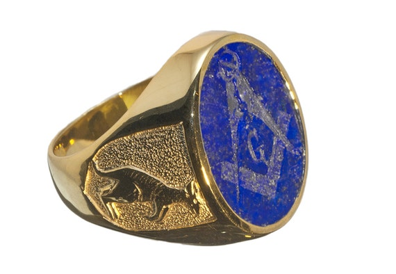 Lapis Masonic Ring Hand Engraved Genuine Gemstone Gold Plated Sterling  Silver 925