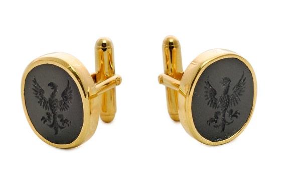 Personalizzata Placcato Oro Gemelli Ovali In Similpelle Custodia-Personalizzato Inciso