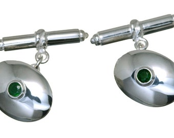 Emerald Cufflinks and Sterling Silver Gemstone Regnas Dress Smart 925