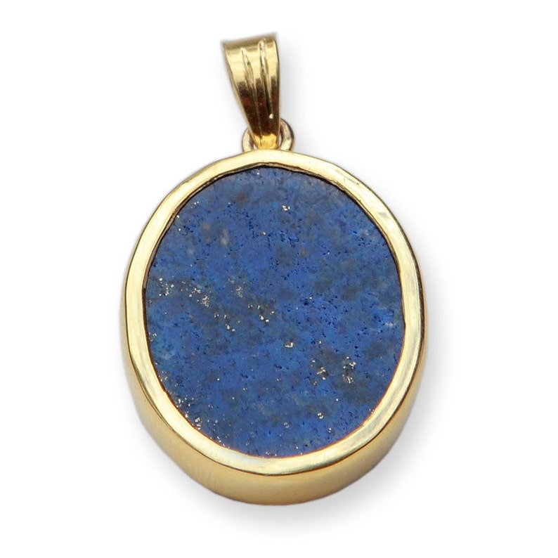 Lapis Medical Pendant Hand Carved Caduceus Genuine Gemstone Gold Plated Sterling Silver 925