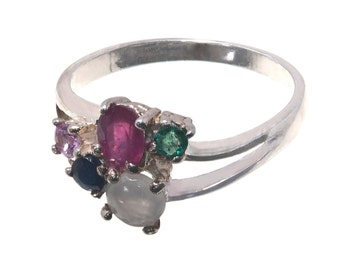A Ruby, Emerald, White Jade, Tourmaline Ladies Ring Unique Sterling Silver 925