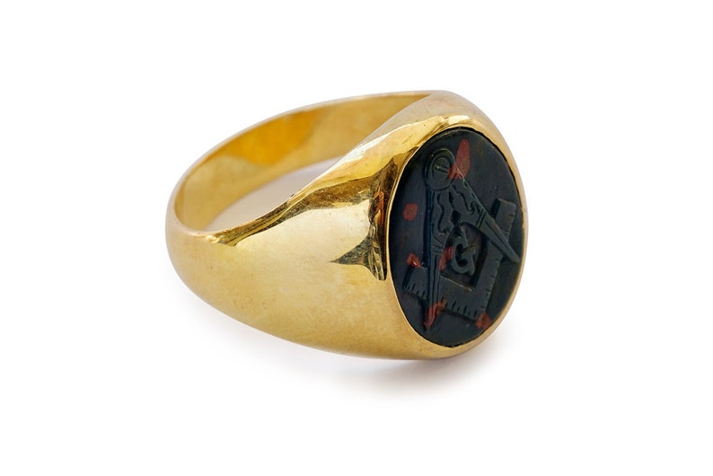 Bloodstone Masonic Ring Hand Carved Genuine Gemstone Signet Gold Plated  Sterling Silver 925