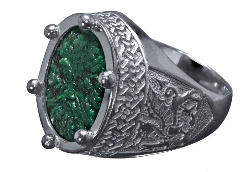 Bague Celtique Vert Jade Précieuses Pierres Sterling Véritable En Homme Argent 925 SUzqVMpG