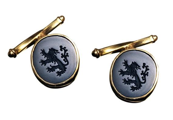 Lion With Crown Cufflinks Black Onyx  Regnas Heraldic Gemstone 18k Gold Plated Sterling Silver 925