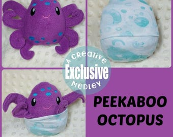 Peekaboo Octopus In the Hoop Stuffed Softie - Reversible folds into an egg, ITH, IN The Hoop, Embroidery Design, Instant download