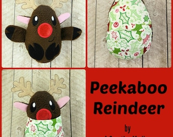 Peekaboo Reindeer In the Hoop Stuffed Softie - Reversible folds into an egg, ITH, IN The Hoop, Embroidery Design, Instant download