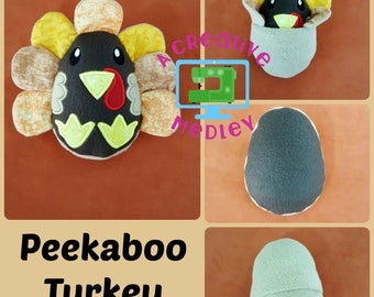 Peekaboo Turkey In the Hoop Stuffed Softie - Reversible folds into an egg, ITH, IN The Hoop, Embroidery Design, Instant download
