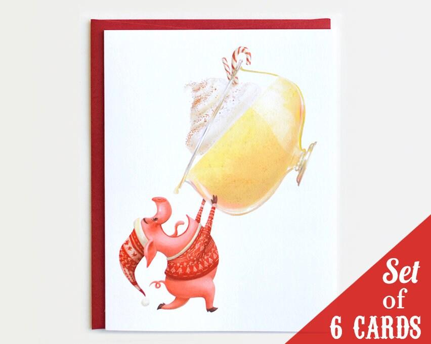 Pig Christmas Cards Set of 6 Christmas Card Set Eggnog   Etsy