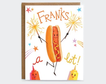 Franks A Lot -  Hot Dog Thank You Card   Foodie Thank You Card   Pun Card   Punny Thank You Card   Food Pun Card