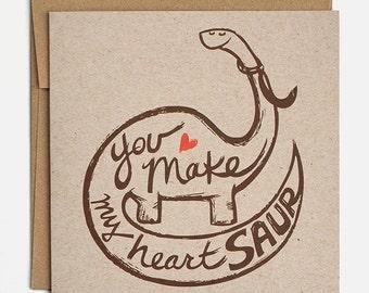 Dinosaur Valentines Card, Valentine Card, Anniversary Card, Pun Card, Love Card