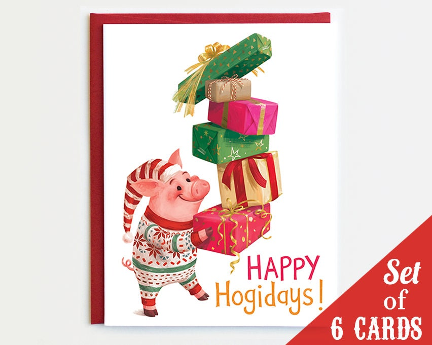 Pig Christmas Cards Set of 6 Cards Pig Holiday Card Set   Etsy