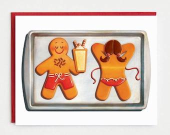 Funny Christmas Card - Sunbathing Gingerbread Holiday Card