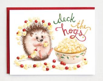 Funny Christmas Card, Hedgehog Christmas Card, Funny holiday card