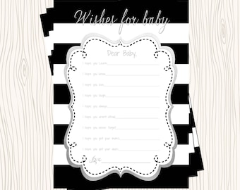 INSTANT DOWNLOAD - Advice Card Wishes for Baby Hopes Dreams Black & White Stripe Silver Gray Foil Baby Shower Game