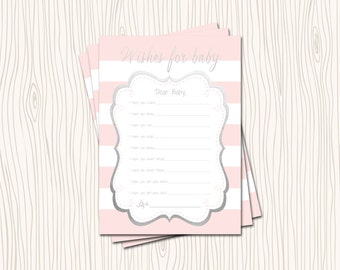 INSTANT DOWNLOAD - Advice Card Wishes for Baby Hopes Dreams Pink Blush & White Stripe Silver Gray Foil Baby Shower Game
