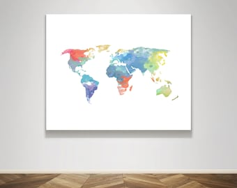 Instant Download - World Map Travel Poster - Watercolor - Boy or Girl Child Nursery Wall Art Home Decor