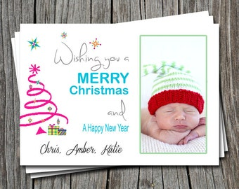 Pink Tree Wishing you a Merry Christmas Holiday Photo Picture Greeting Card  - Any Color