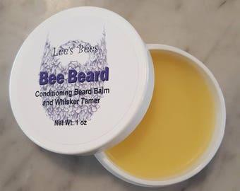Beard Balm w Beeswax, Conditioning Butters and Oils 1 Oz. Widemouth Jar from Organic Farmer and Beekeeper Bee Beard