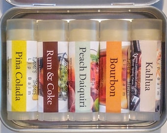 Lip Balm Gift Set NEW LIQUOR is QUICKER Collection - in a Hinged Tin Teachers Teens Coworkers Mom Dad Boozy Spirits Alcohol-Free Fun