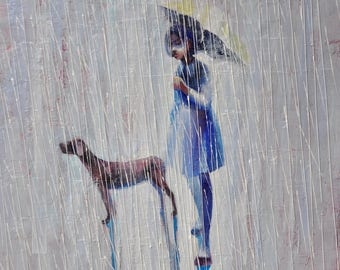 Little girl and her best friend. Original Oil painting  Print on rolled canvas. 16x20