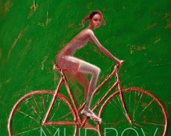 Red bike on green!2015  Oil painting  on rolled canvas. Fine art print Girl on the Bike