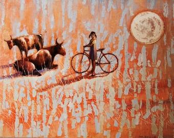 SUNSET     2012      Original Oil painting print on rolled canvas Fine Art Print Landscape