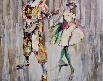 Duet 2008      Original oil painting print on rolled canvas Fine Art print Herliquine and Columbine