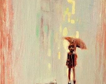Summer rain. 2016 Oil painting on rolled canvas.Rain Girl and Umbrella,Little dog