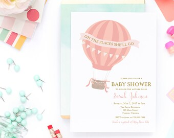 Oh The Places She'll Go Baby Shower Invitation - Printed or Printable - Baby Girl Shower - Hot Air Balloon Invitation - Free Shipping