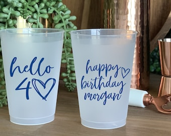 Personalized Birthday Cup 40 and Fabulous Birthday Cup Party Cup 40th Birthday Cup Party Favor Birthday Cup Custom Plastic Cups