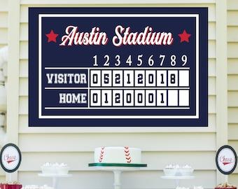 Baseball Scoreboard - Baseball Birthday, Baseball Party Printables, Editable Poster Print, Instant Access Printable Sign - EDIT NOW