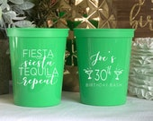 Fiesta Siesta Tequila Repeat Personalized Birthday Cups - Birthday Stadium Cups - Birthday Favor, 40th Birthday, Mexican Birthday Cup