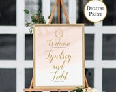 Printable Blush Gold Wedding Celebration Print, Calligraphy Welcome Sign, Wedding Welcome Sign, Welcome Wedding Poster, Multiple Sizes
