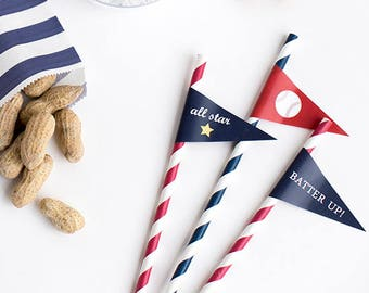 INSTANT DOWNLOAD Baseball Straw Flags (Baseball Birthday, Baseball Party, All Star Straw Flag, Batter Up Straw Flag, Printable Straw Flags)